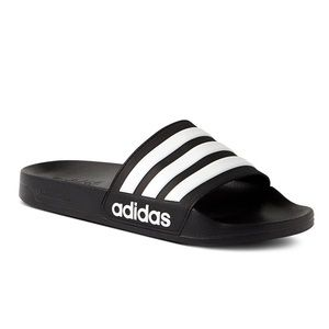 Adidas black and white slides sandals size 4